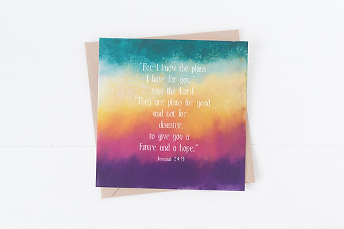Christian Bible verse Greeting Card. For you know the plans I have for you.