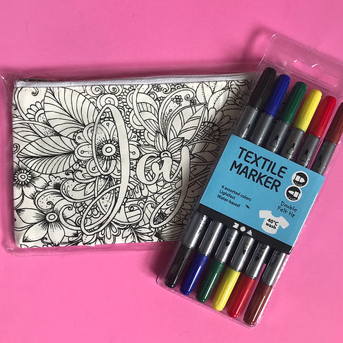 Joy Pencil Case. Christian Colouring Gift. Fabric Pens. Gift for children,