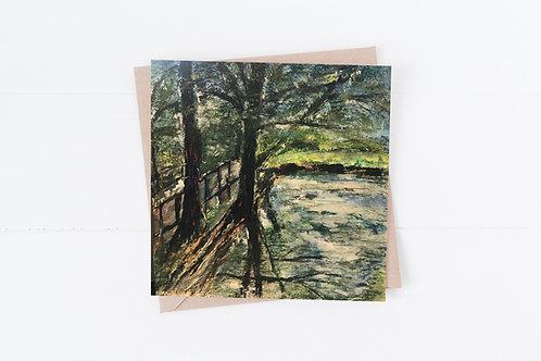 Blank Greeting Card. Greetings Cards. Tree by water.