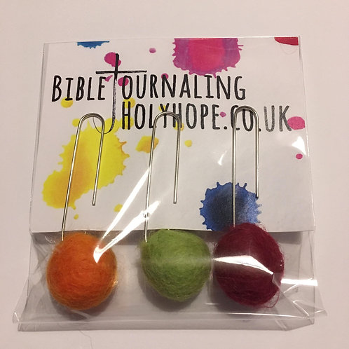 Autumn Colour Felt Ball Bookmark. Journaling Ephemera. Christmas Stocking Filler