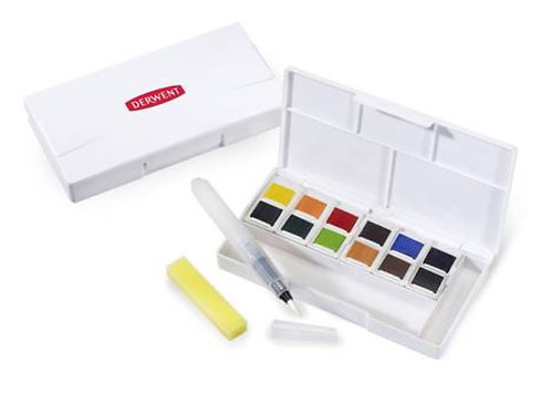 Derwent Inktense Paint Pan Watercolour Travel Set