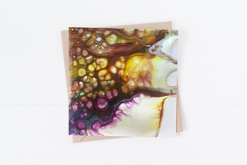 Blank Greeting Card. Greetings Cards. Rainbow Paint pouring