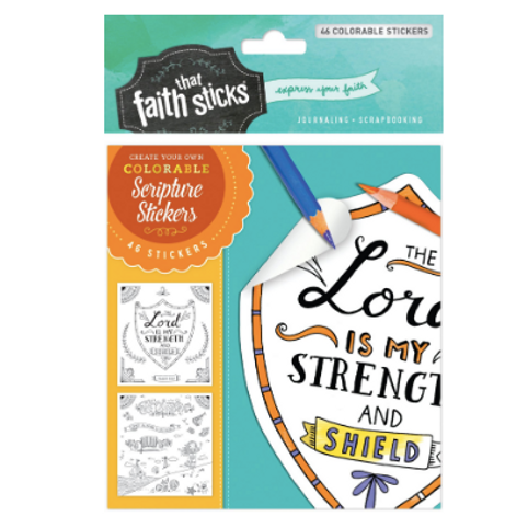 Psalm 28:7 Colourable Stickers. Faith That Sticks. Bible Journaling