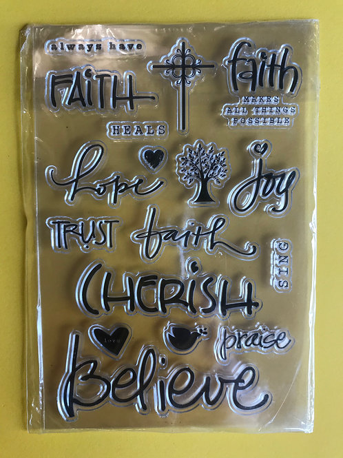 Christian Stamps. Clear Craft stamps. Bible Word stamp set.