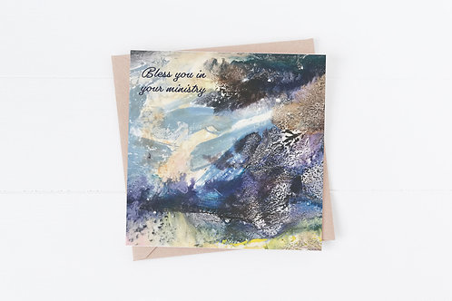 Bless you in your ministry. Christian Greeting Card.