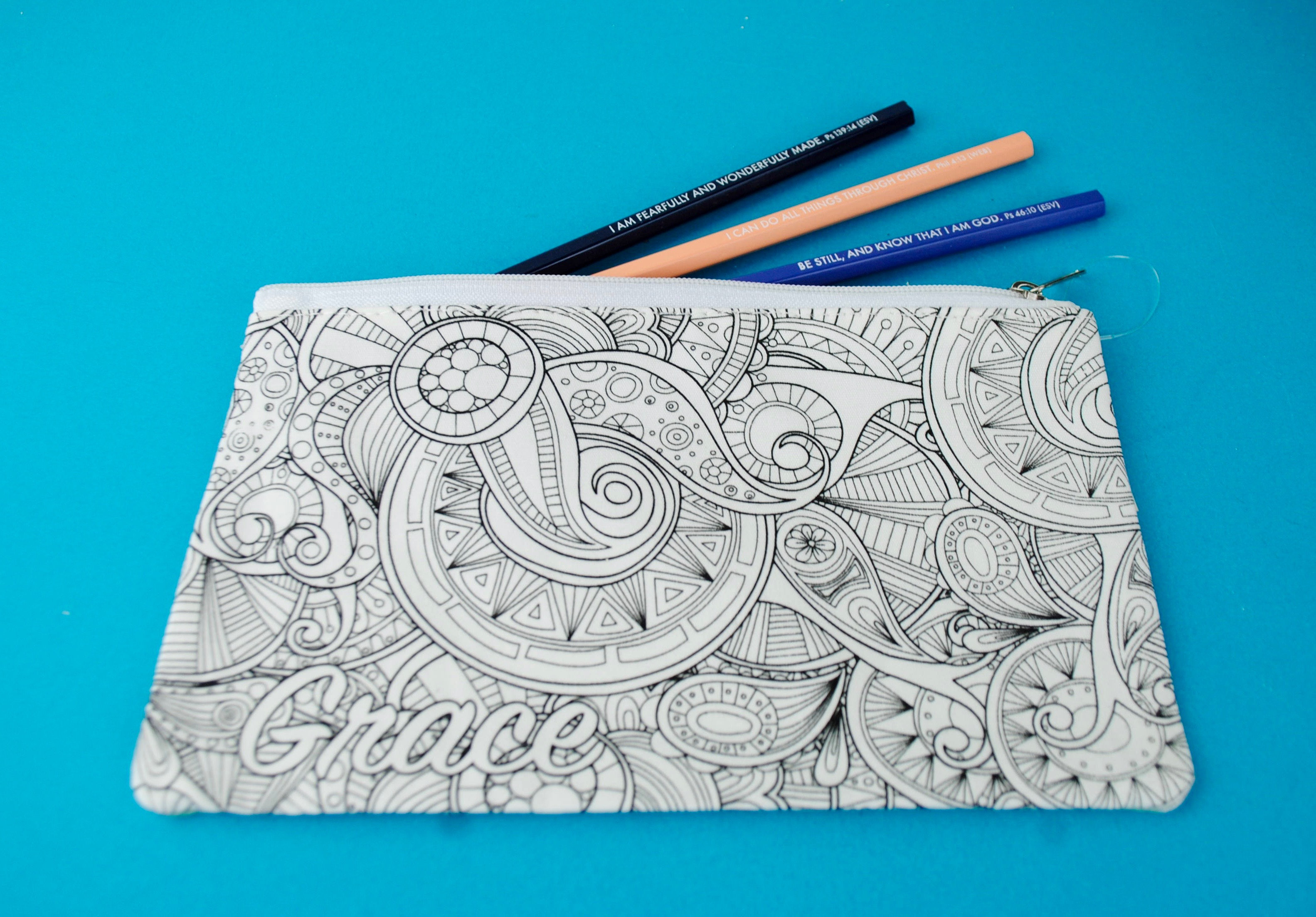 Pencil case christian colouring gift bible journaling supplies