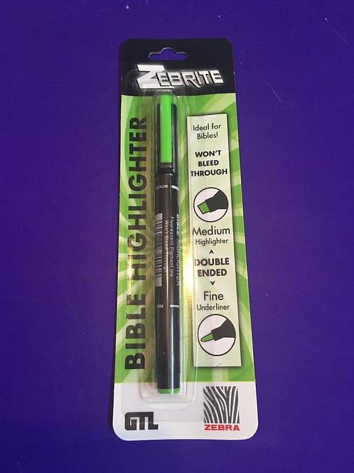 Zebrite Bible Highlighter Pen - Green