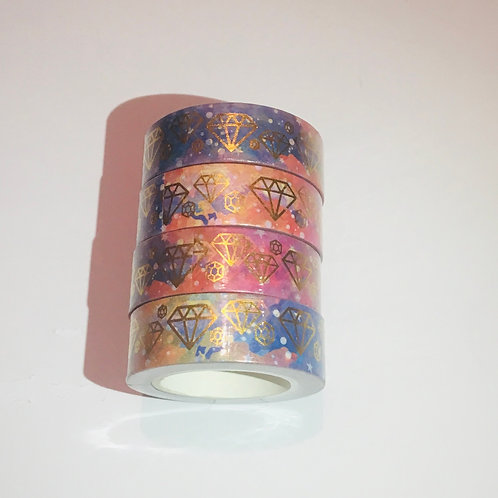 Jewel Foil Washi Tape. Foil Washi. Abstract Background. Galaxy