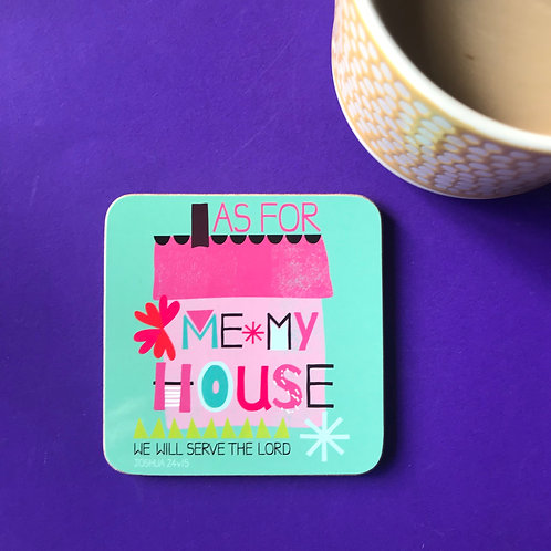 Christian Coaster. Bible Verse Gift. Serve the Lord