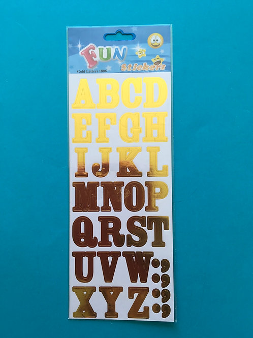 Gold uppercase Alphabet Stickers. Fun Stickers