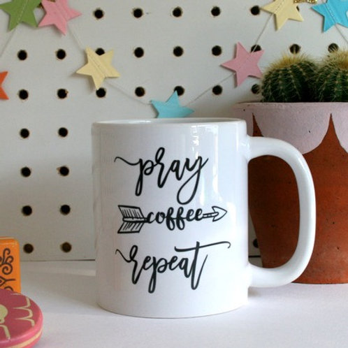 Pray Coffee Repeat. Christian Mug. Christian Christmas Gift.