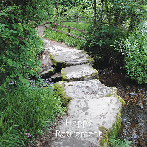 Happy Retirement. Greeting Card. Stepping stones