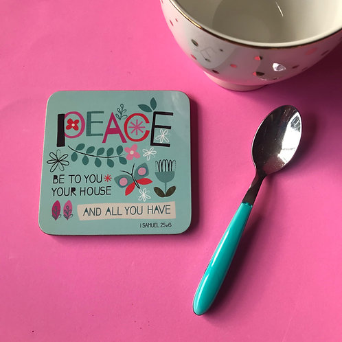 Christian Bible Verse Coaster. 1 Samuel 25v6. Peace