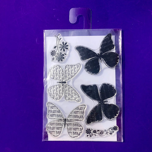 Clear Craft stamps.  Stamp set. Thank you. Birthday. Butterfly.