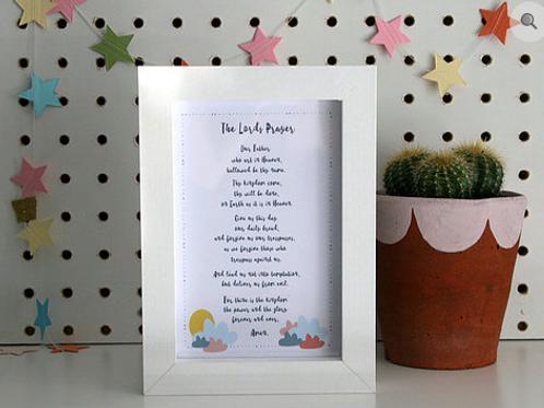The Lord's prayer. Christian gift. Christian framed print.
