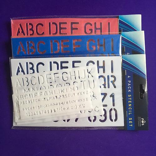 Alphabet Stencil Set x 4