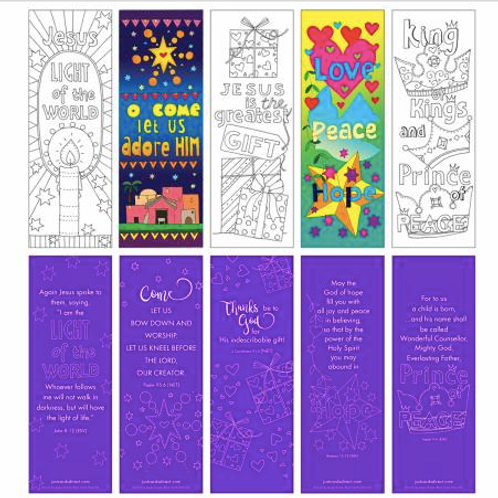 Christmas colouring bookmarks 2020