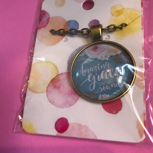 Amazing Grace. Christian Necklace and Pendant. Bible Verse Gift.