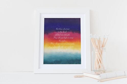 Christian framed print. Christian Print. Isaiah 40:31