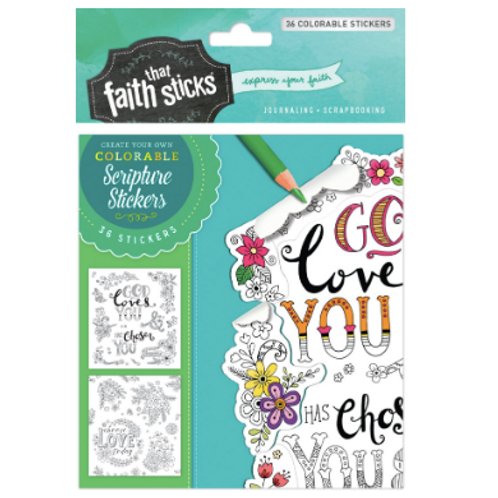 1 Thessalonians 1:4 Colourable Stickers. Faith That Sticks. Bible Journal