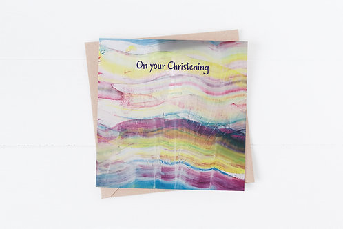 Christening Greeting card. Rainbow Sunrise. Bright paint colours
