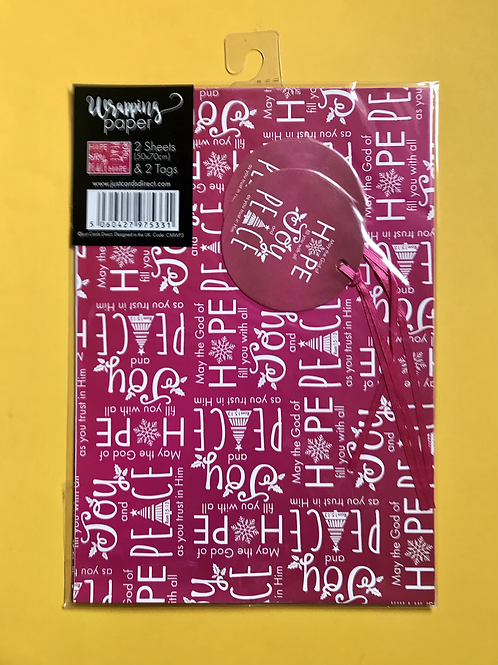 Christian Christmas Wrapping Paper.  Hope, joy, peace Gift Wrap