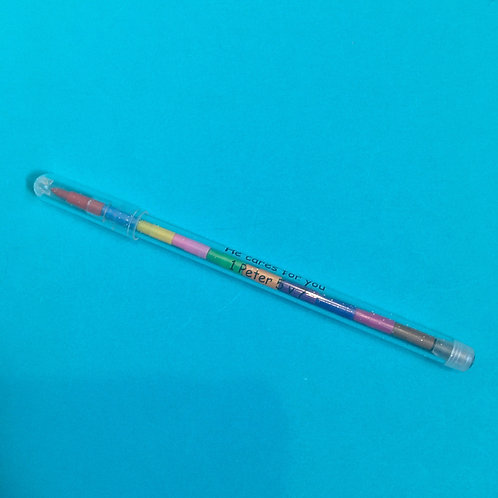 Rainbow children's colour changing pencil. Bible verse gift