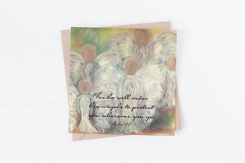 Bible Verse Christian Greeting Card. Angel card.Psalm 91:11