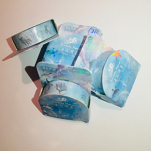 Oceon Sealife Blue Gold Foil Washi Tape.