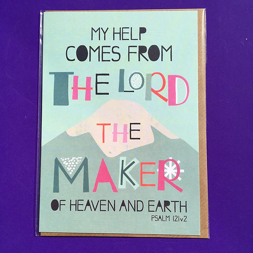 Christian Greeting Card. My help comes from the Lord
