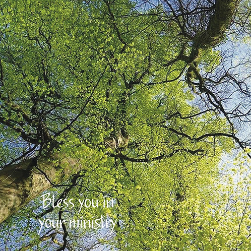Bless you in your ministry. Greeting Card. Photographic image. Tree and Sky