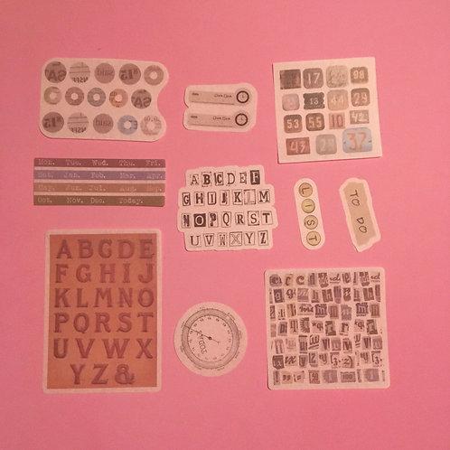 Art Journal Velum Stationary Alphabet Stickers