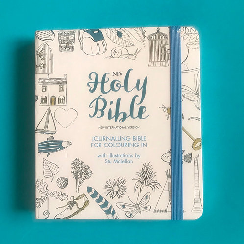 NIV Journaling Bible, White, Hardback, Colouring Illustrations, Wide Margins, Re