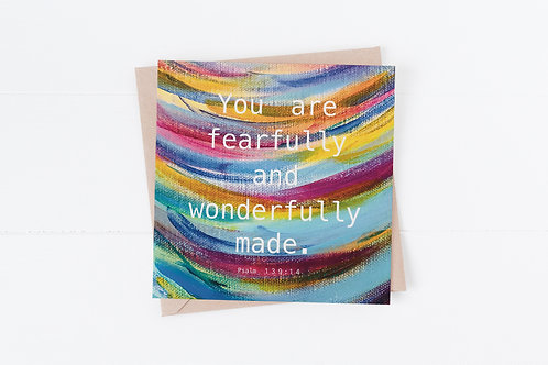 Christian Greeting Card. Bible Verse Card. Fearfully and wonderfully made.