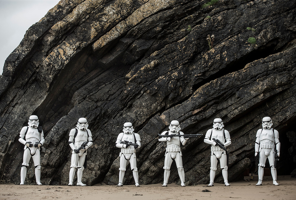 Stormtroopers filmed on Goat Island, Ardmore in County Waterford