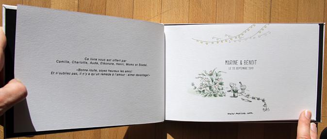 carnet dessiné de mariage pages de garde