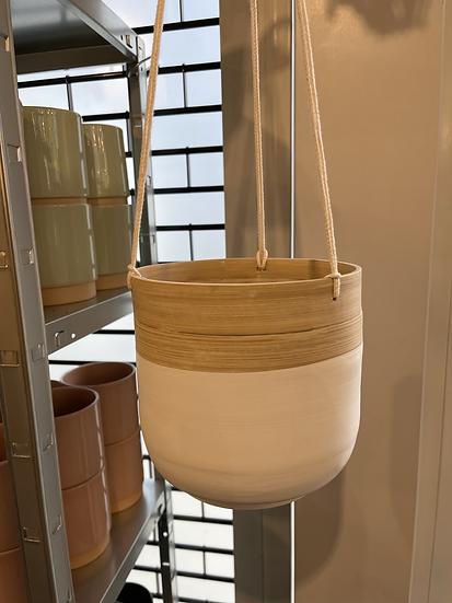 Bamboo hanging planter white 18cm