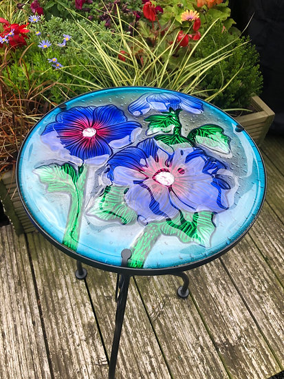 Hibiscus glass side table