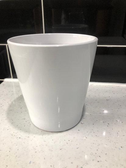 12cm plain white pot