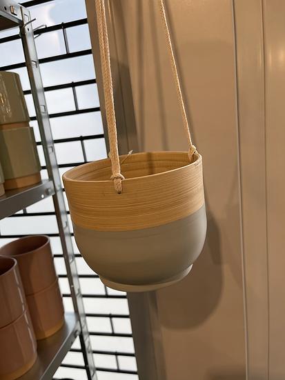 Bamboo hanging planter grey 16cm
