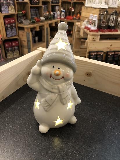 LED porcelain snowman