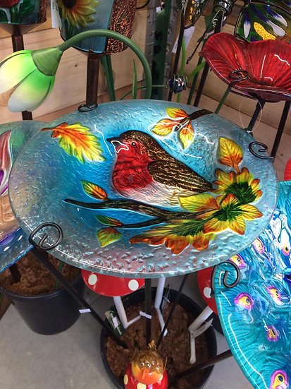 Medium Glass Bird Baths/Feeders