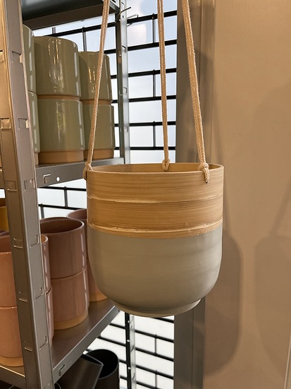 Bamboo hanging planter grey 18cm