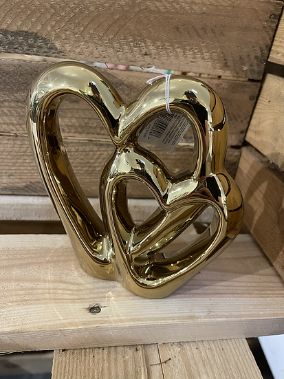 15cm gold double heart ornament