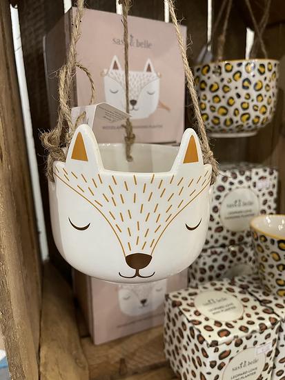 Woodland fox hanging planter