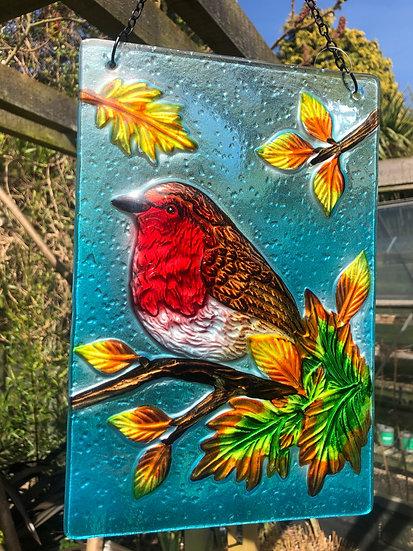 Large glass robin sun catcher