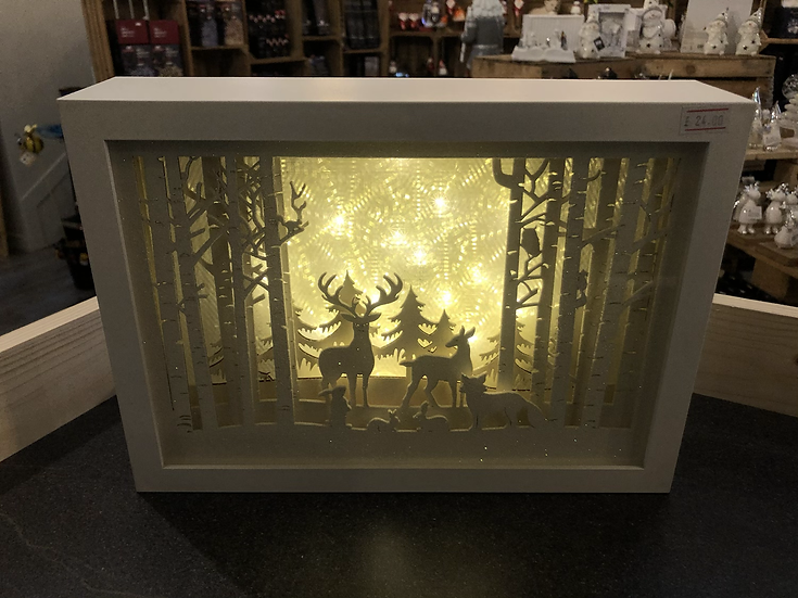 White reindeer scene large