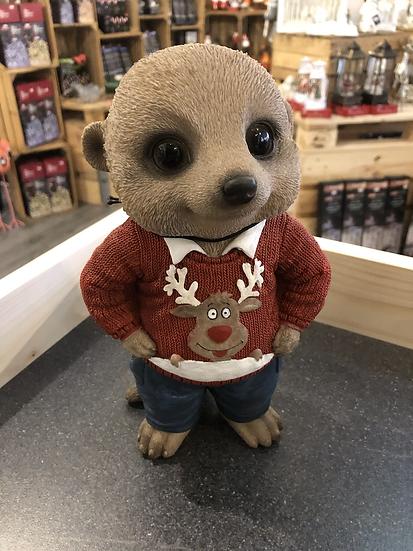 Vivid Christmas meerkat