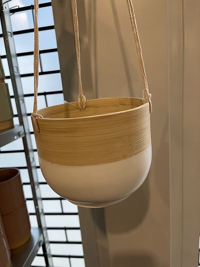 Bamboo hanging planter white 16cm