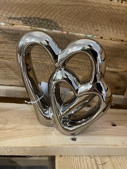 15cm silver double heart ornament